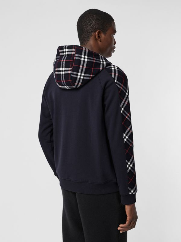 Vintage Check Panel Cotton Hooded Top in Navy - Men | Burberry United Kingdom - cell image 2