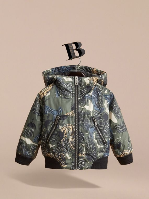 Beasts Print Hooded Bomber Jacket in Sage Green | Burberry - cell image 2