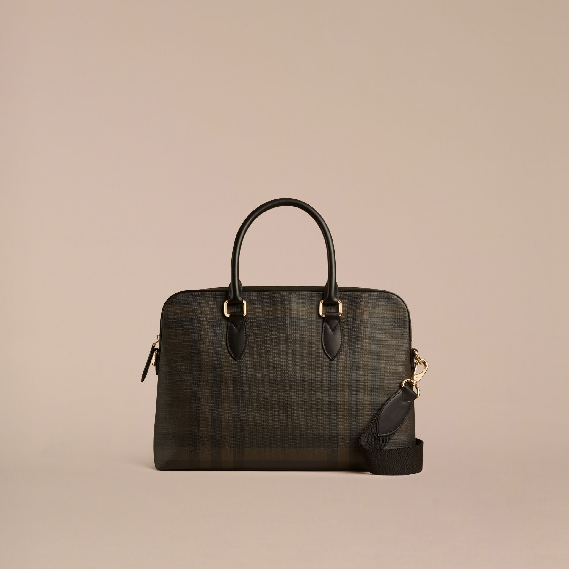 Medium Leather Trim London Check Briefcase in Chocolate/black - Men | Burberry - gallery image 6