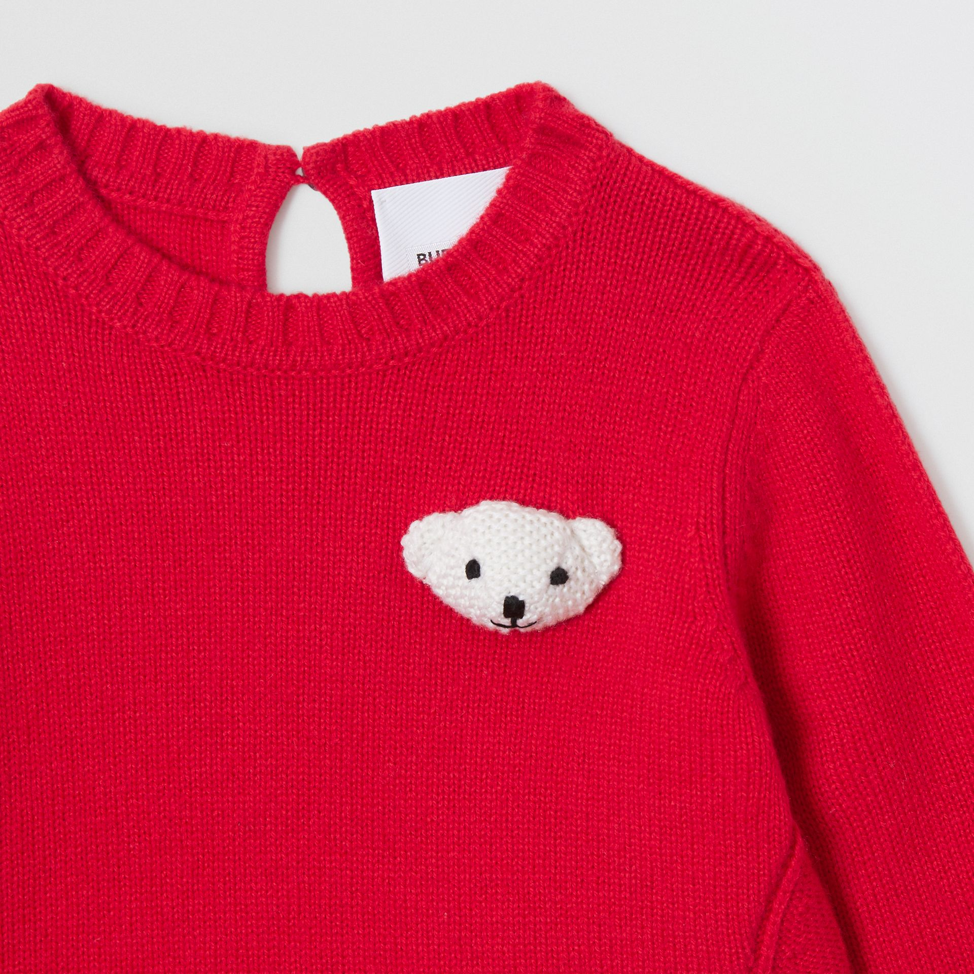 Thomas Bear Detail Wool Cashmere Sweater in Bright Red - Children | Burberry United Kingdom - gallery image 5