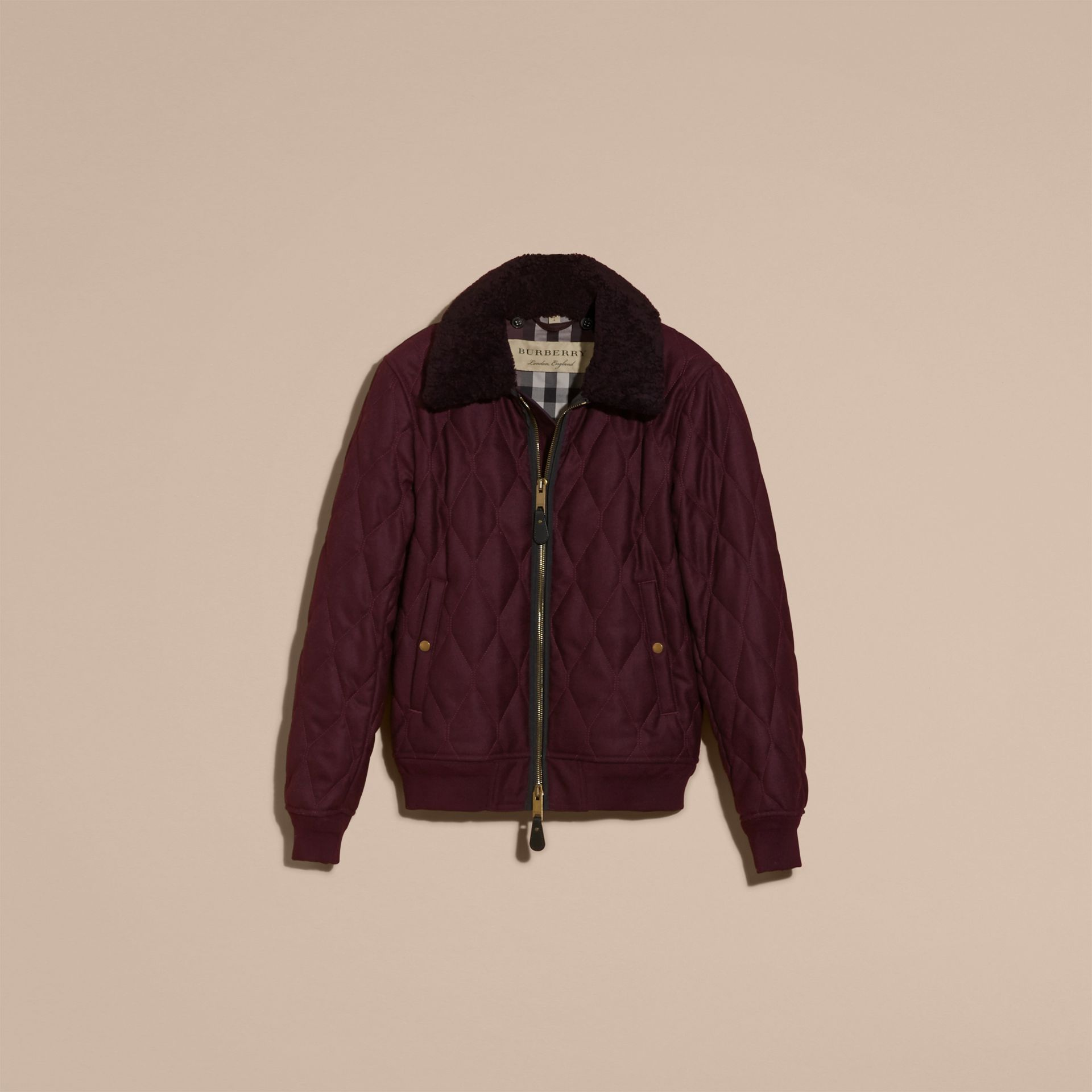 Deep burgundy mel Military Quilt Wool Jacket with Shearling Collar - gallery image 4