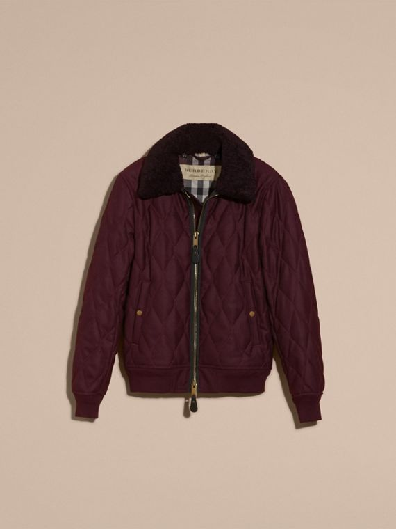 Deep burgundy mel Military Quilt Wool Jacket with Shearling Collar - cell image 3