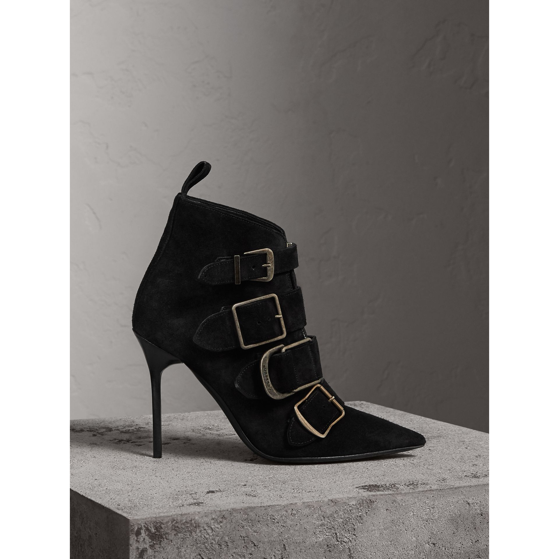 Buckle Detail Suede Ankle Boots in Black - Women | Burberry - gallery image 1