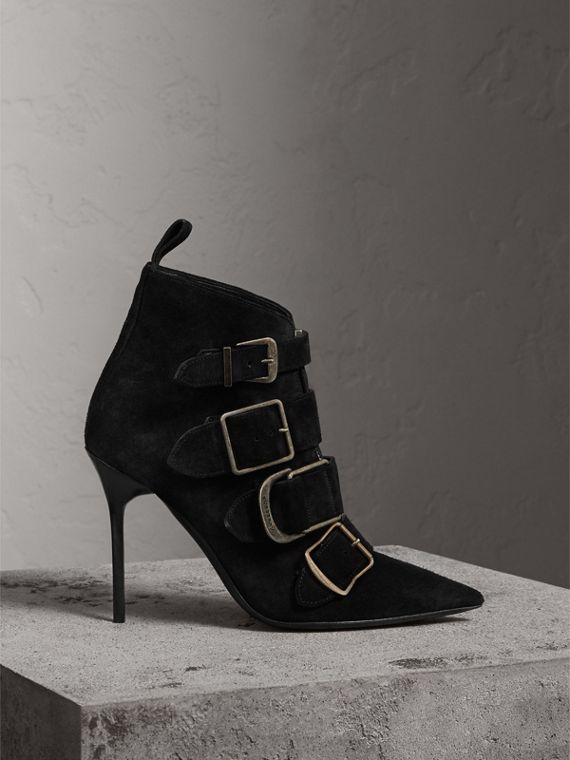 Buckle Detail Suede Ankle Boots in Black