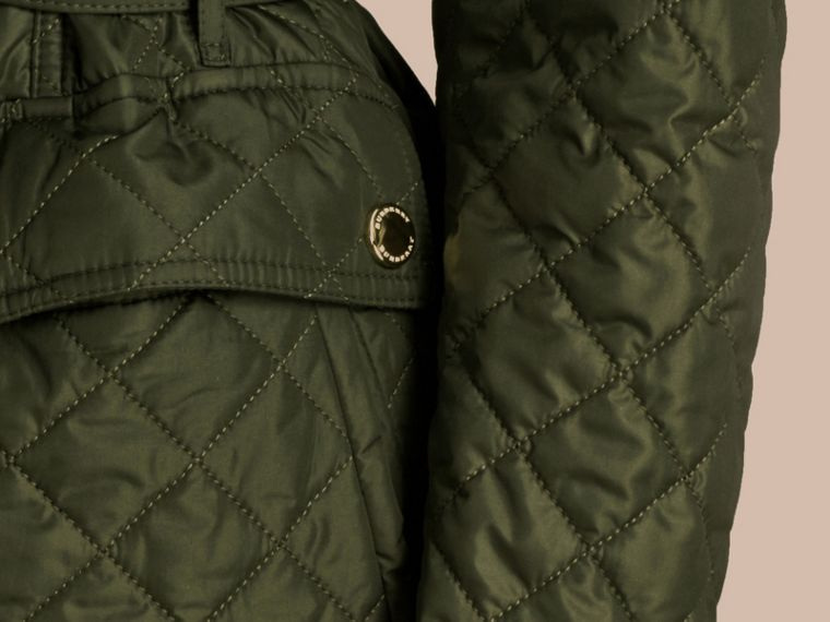 Olive Diamond Quilted Field Jacket with Panel Detail - cell image 1