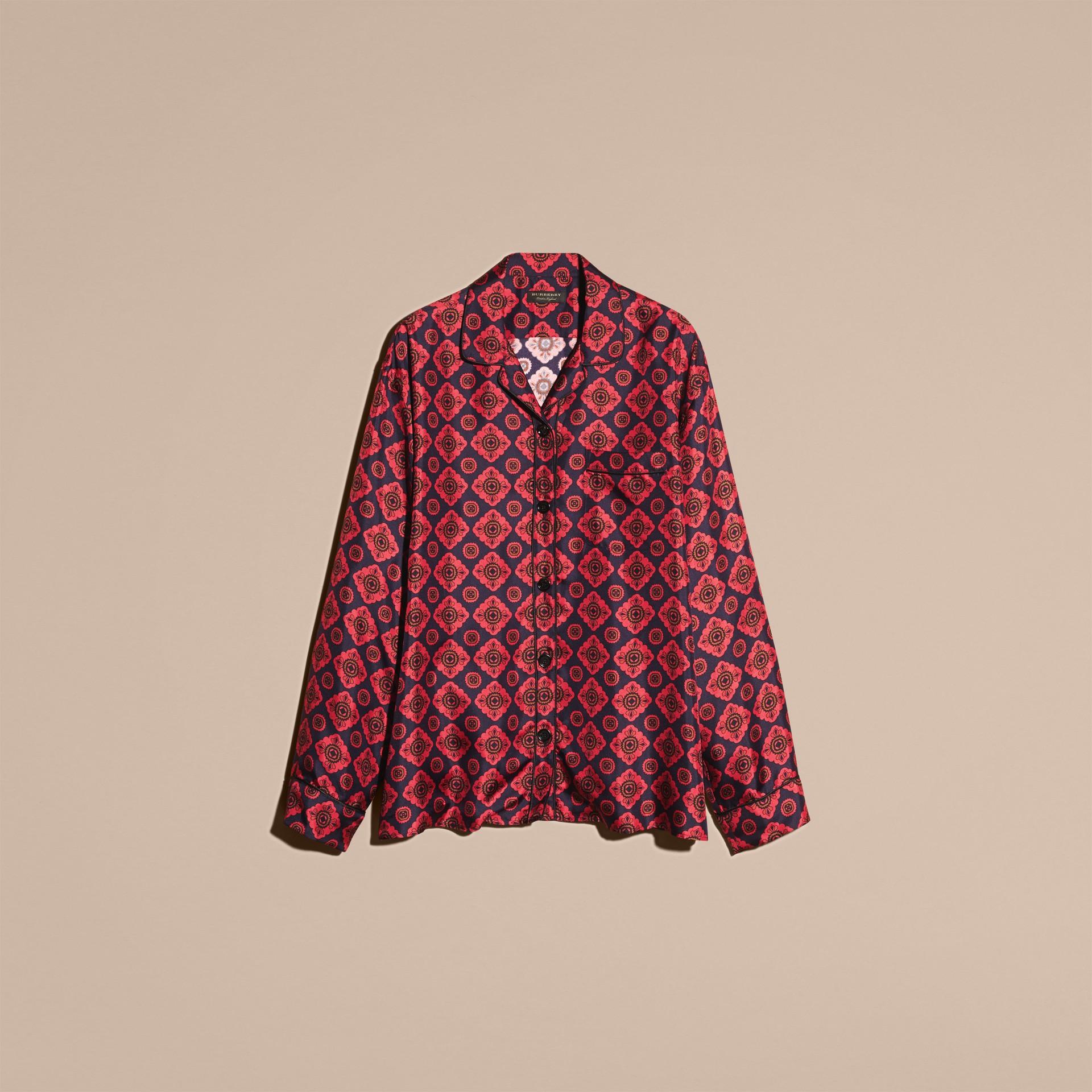 Geometric Tile Print Silk Pyjama-style Shirt - gallery image 4
