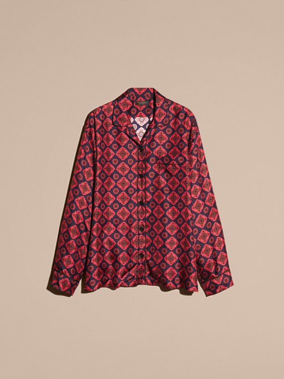 Geometric Tile Print Silk Pyjama-style Shirt - cell image 3