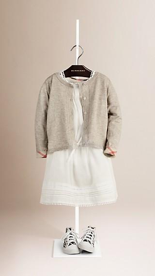 Check Cuff Cotton Knit Cardigan