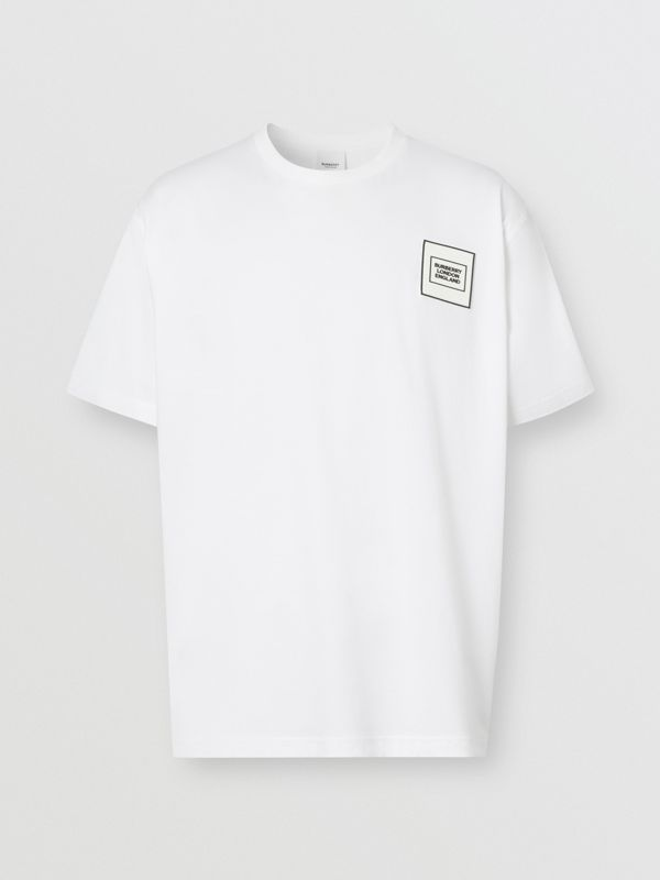 Logo Appliqué Cotton T-shirt in White - Men | Burberry United Kingdom - cell image 3