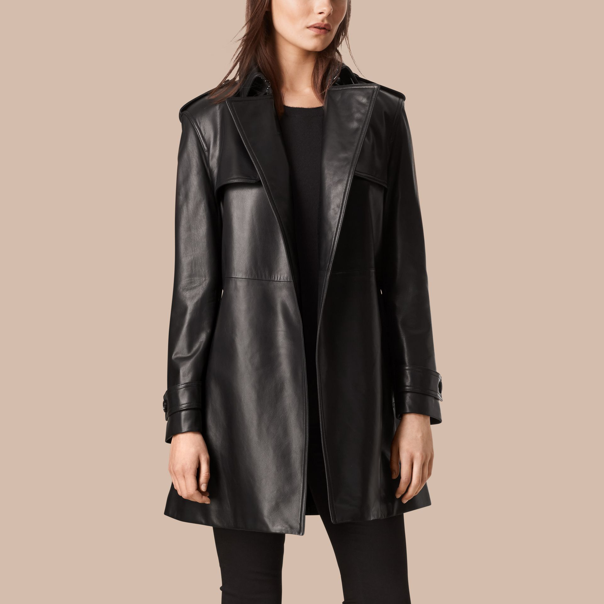 Black Oversize Wrap Lambskin Trench Coat - gallery image 4