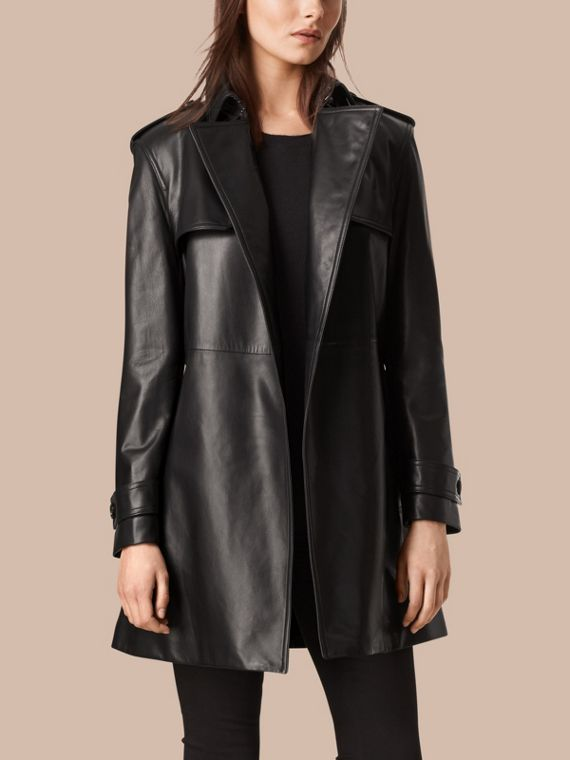 Black Oversize Wrap Lambskin Trench Coat - cell image 3