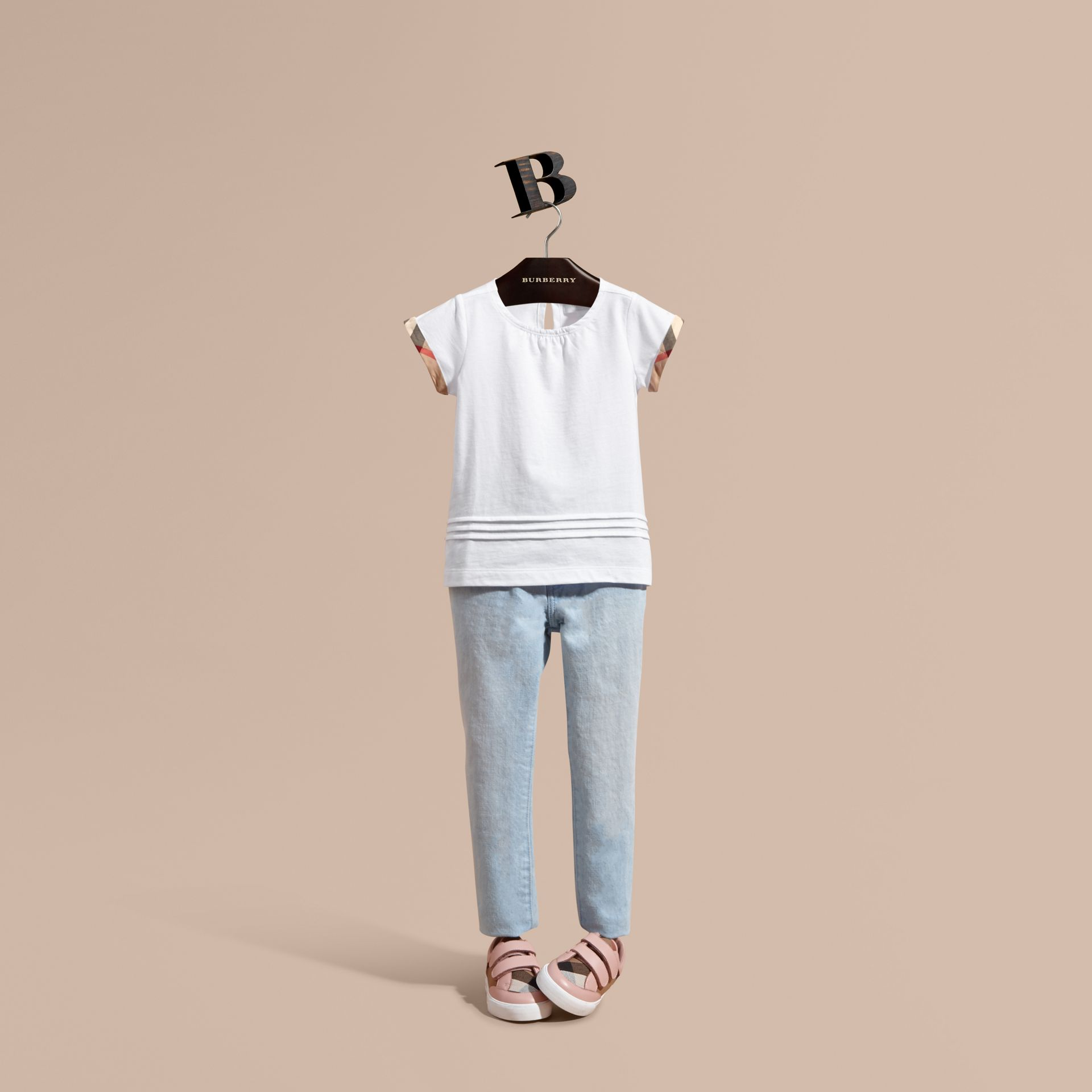 White Pleat and Check Detail Cotton T-shirt White - gallery image 1
