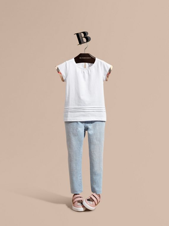 Pleat and Check Detail Cotton T-shirt in White