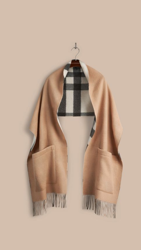 Ivory check Check Wool Cashmere Stole - Image 4