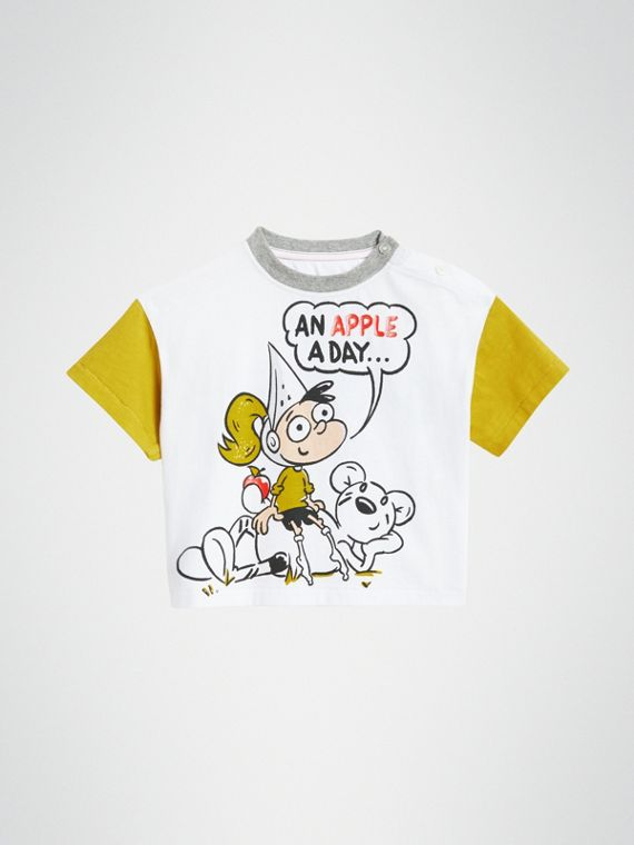 Cartoon Print Cotton T-shirt in Natural White