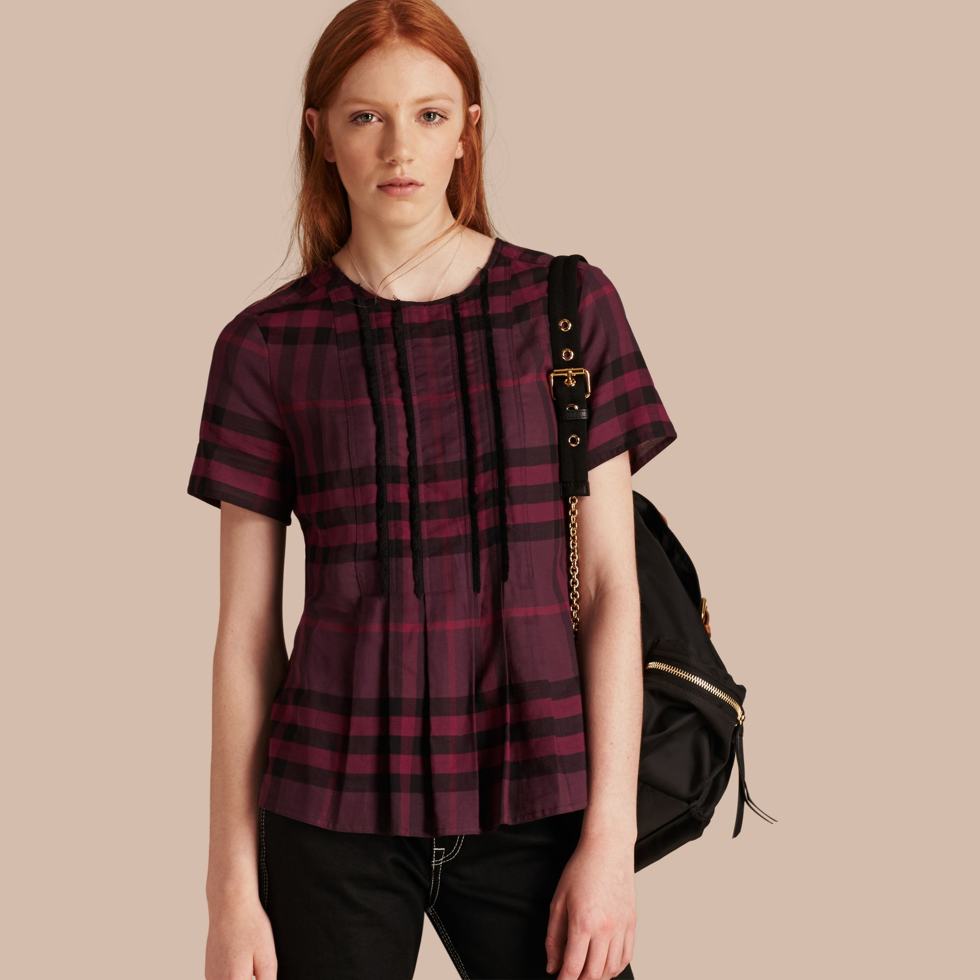 Blackcurrant Short-sleeved Fringed Check Cotton Top Blackcurrant - gallery image 1