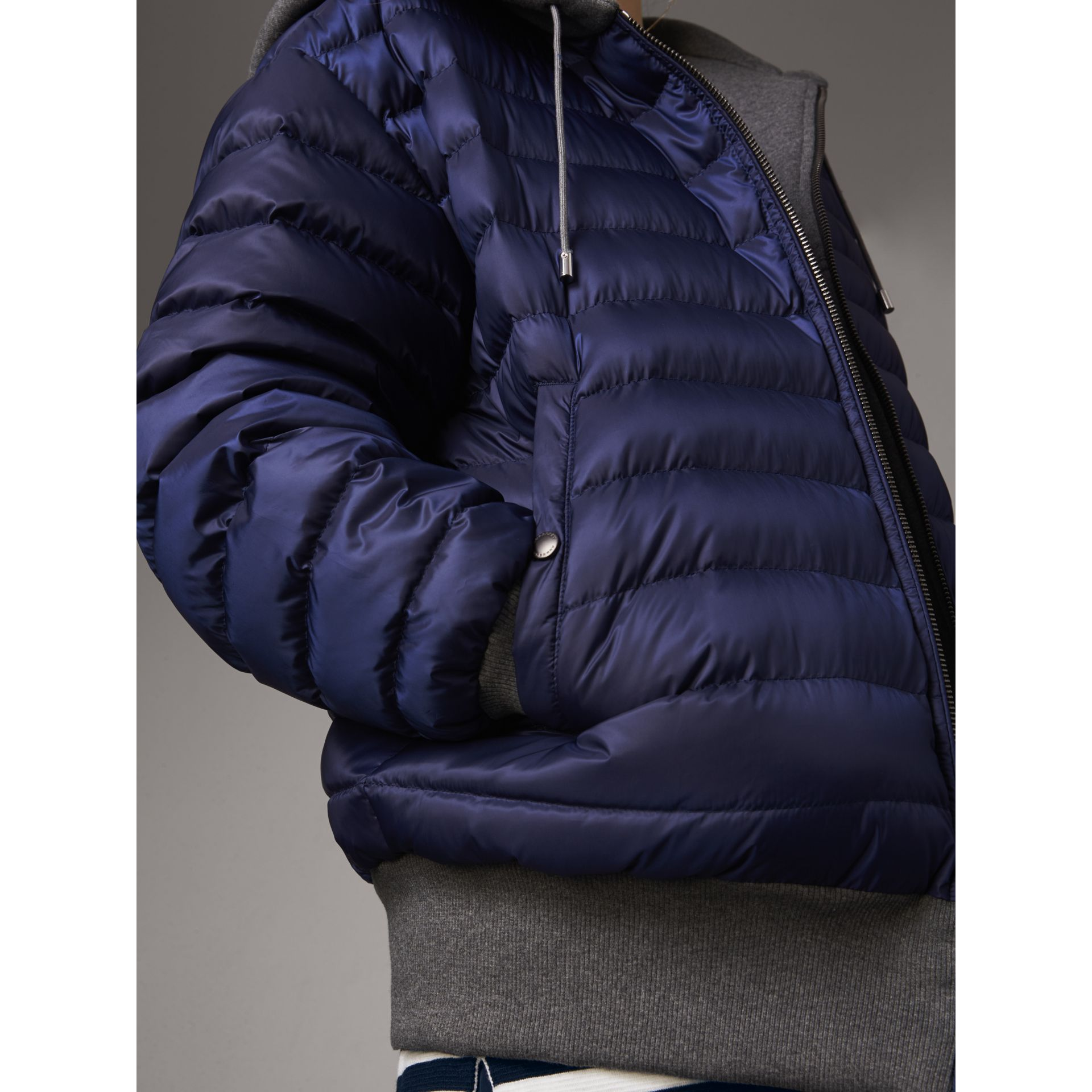 Reversible Down-filled Hooded Bomber Jacket in Bright Navy - Women | Burberry - gallery image 2