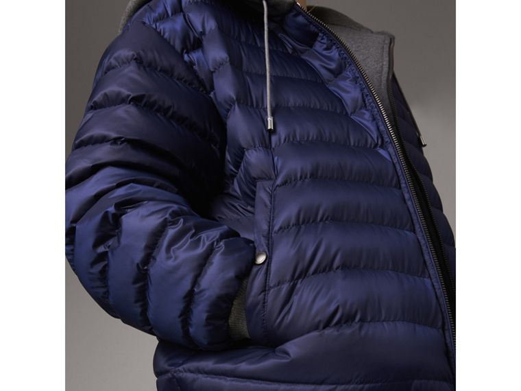 Reversible Down-filled Hooded Bomber Jacket in Bright Navy - Women | Burberry Australia - cell image 1