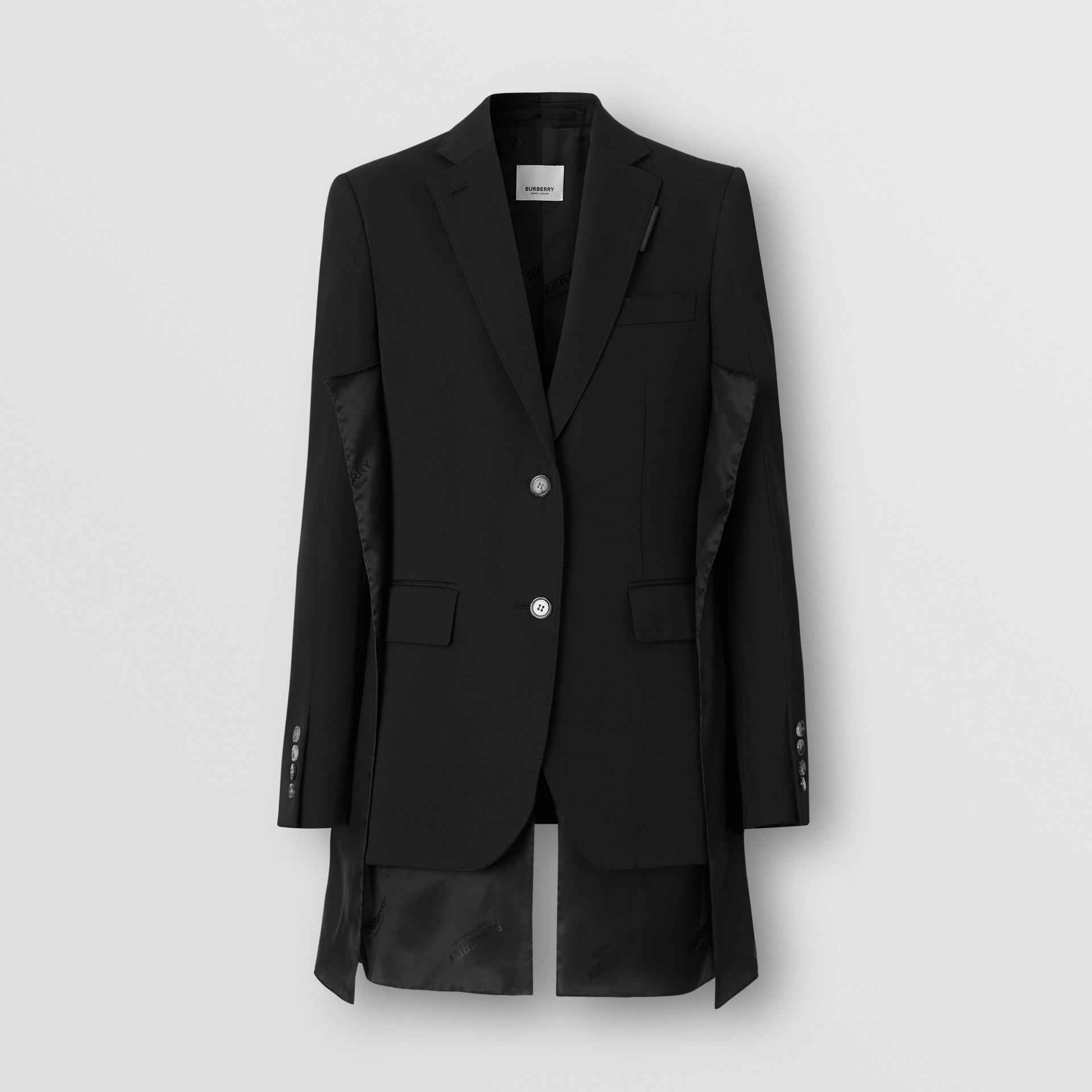Logo Panel Detail Wool Tailored Jacket in Black - Women | Burberry Australia - gallery image 3