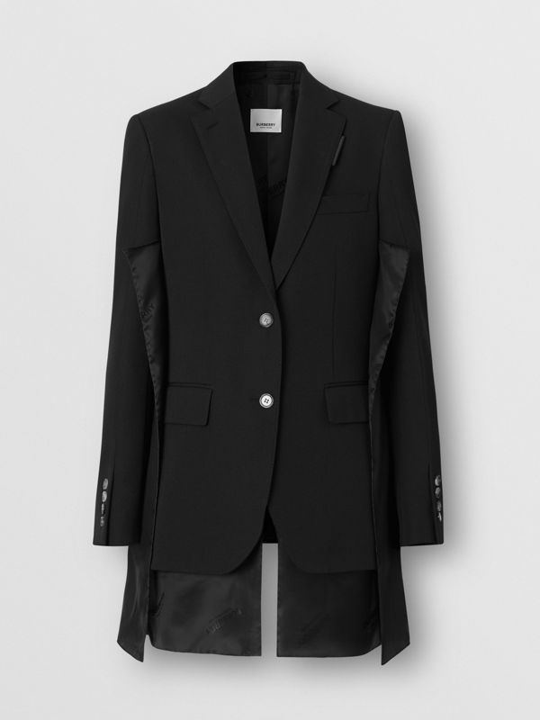Logo Panel Detail Wool Tailored Jacket in Black - Women | Burberry - cell image 3