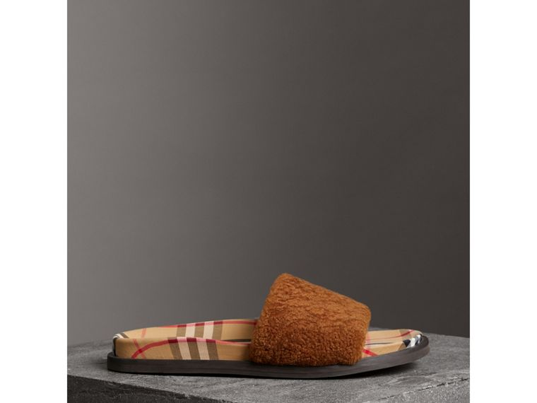 Shearling and Vintage Check Slides in Tan - Women | Burberry - cell image 4