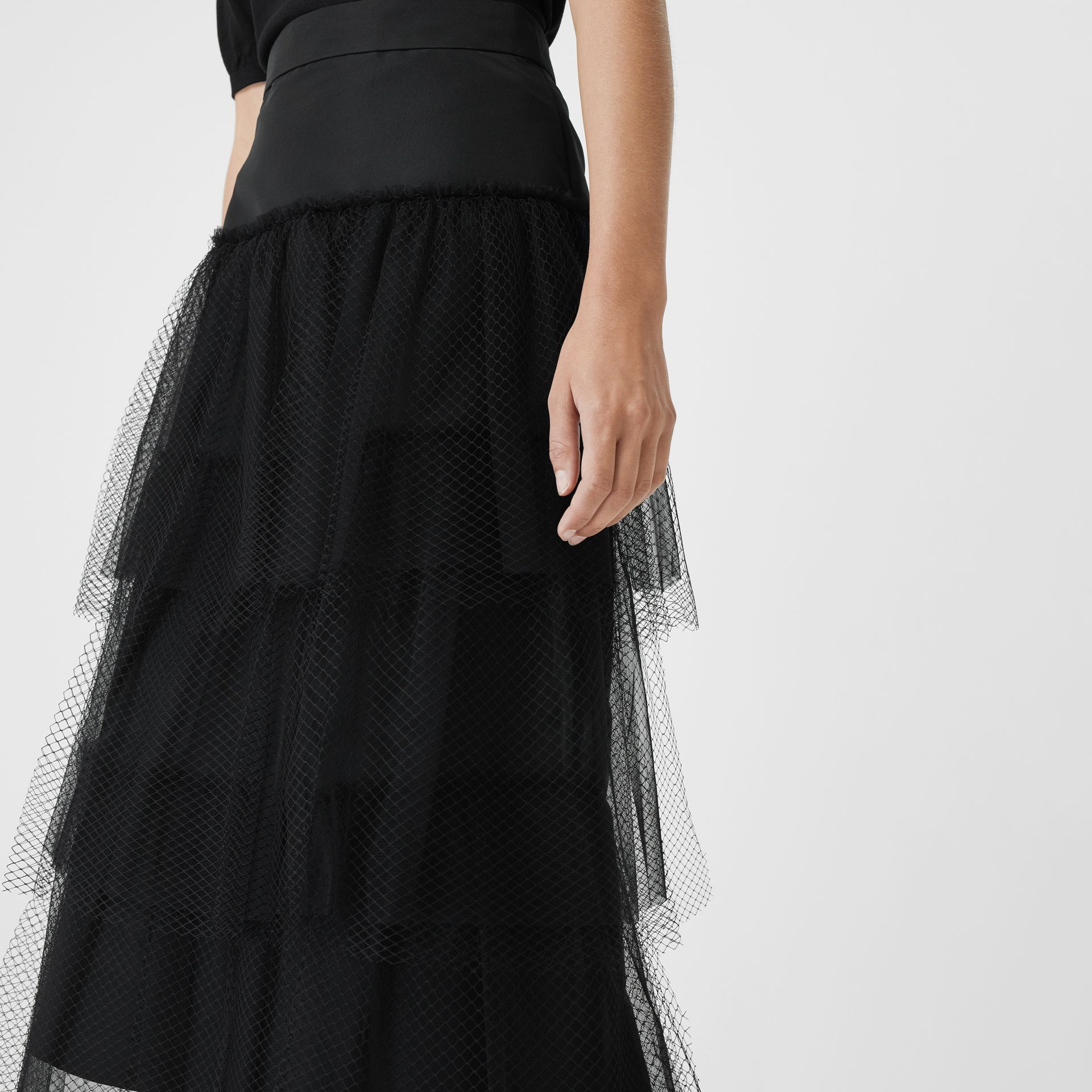 Tiered Tulle A-line Skirt in Black - Women | Burberry Canada - gallery image 1