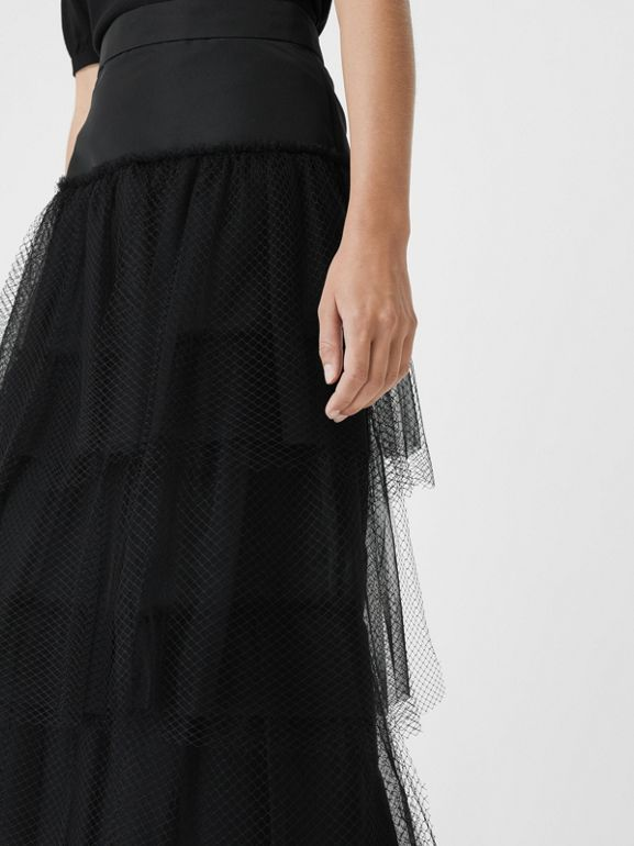 Tiered Tulle A-line Skirt in Black - Women | Burberry - cell image 1