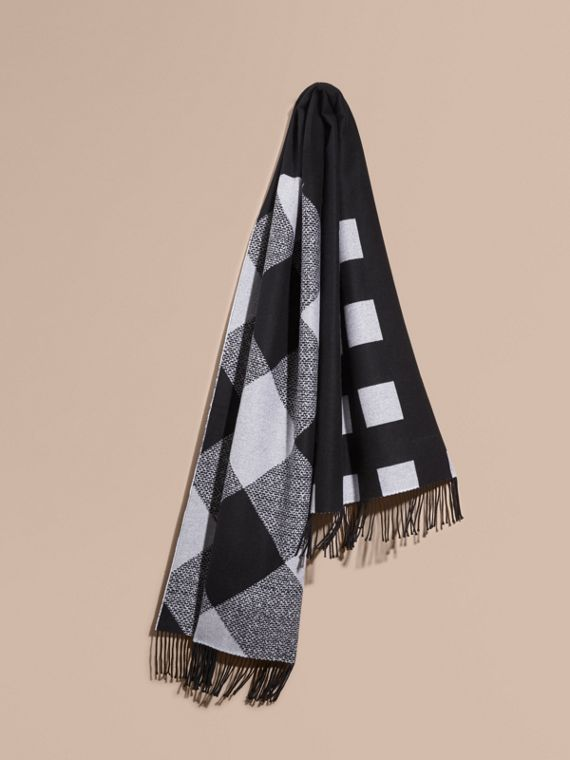 Reversible Check Cashmere Scarf Black/white