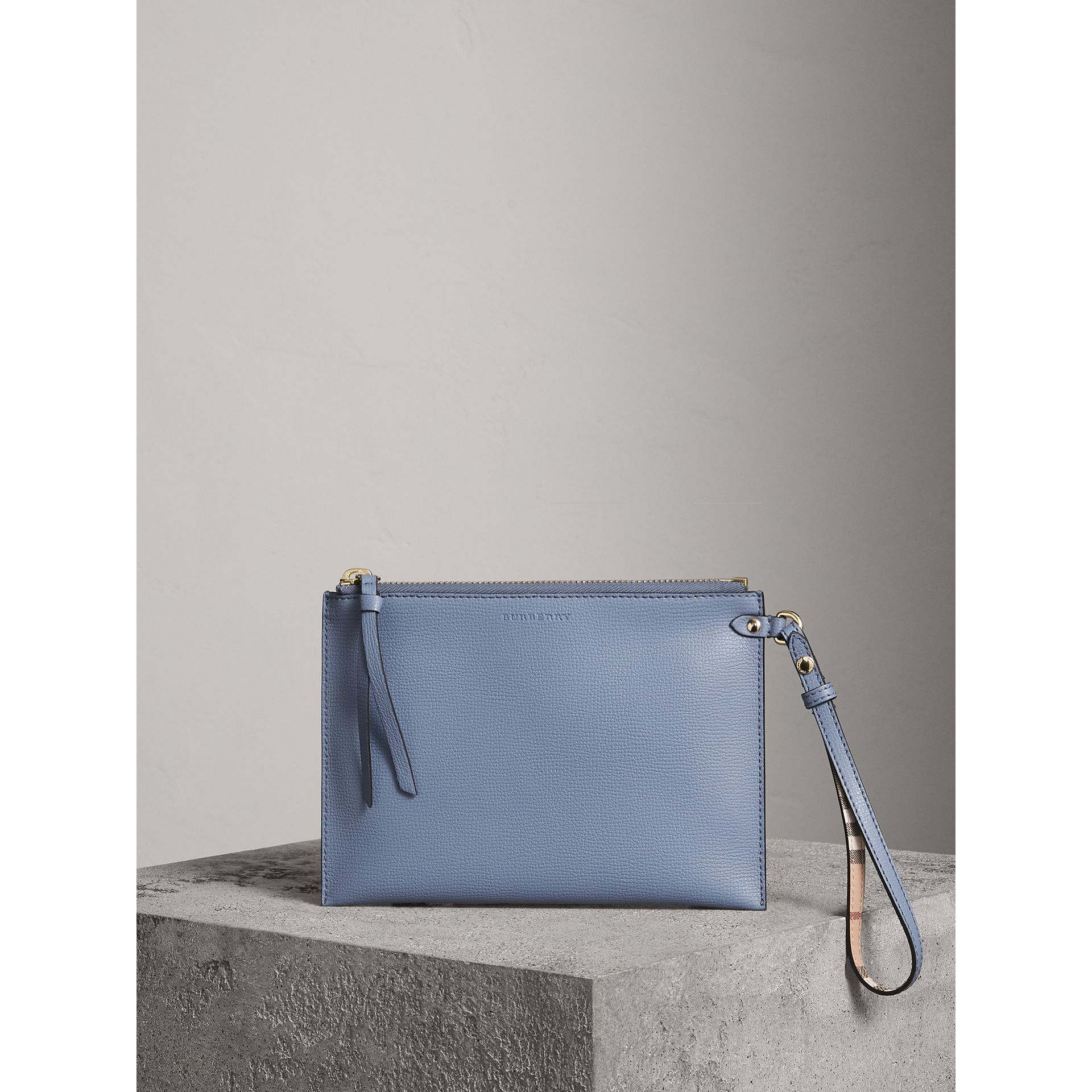 Haymarket Check and Leather Pouch in Slate Blue - Women | Burberry - gallery image 0