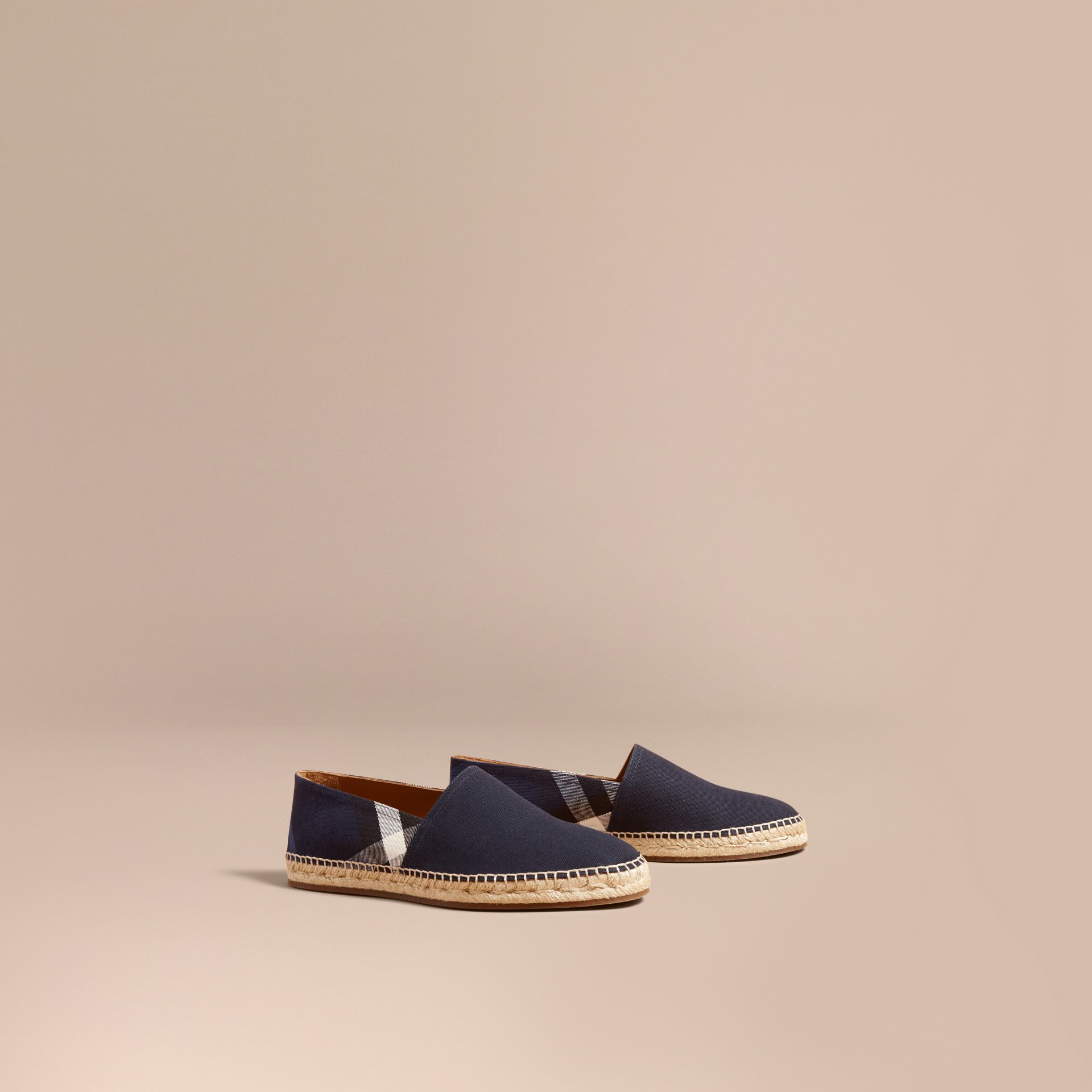 Overdyed House Check and Cotton Canvas Espadrilles - Men | Burberry Singapore - gallery image 1