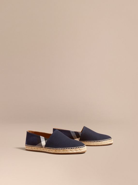 Overdyed House Check and Cotton Canvas Espadrilles - Men | Burberry Singapore