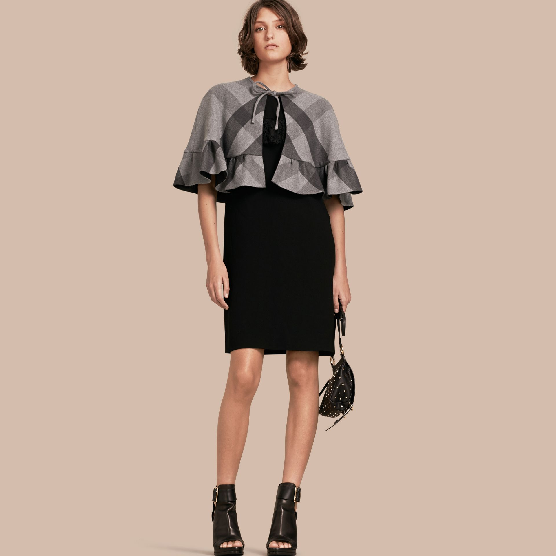 Charcoal Ruffled Hem Check Wool Cape Charcoal - gallery image 1