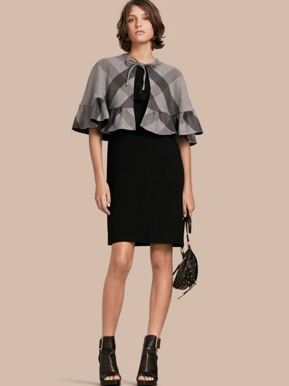 Ruffled Hem Check Wool Cape Charcoal