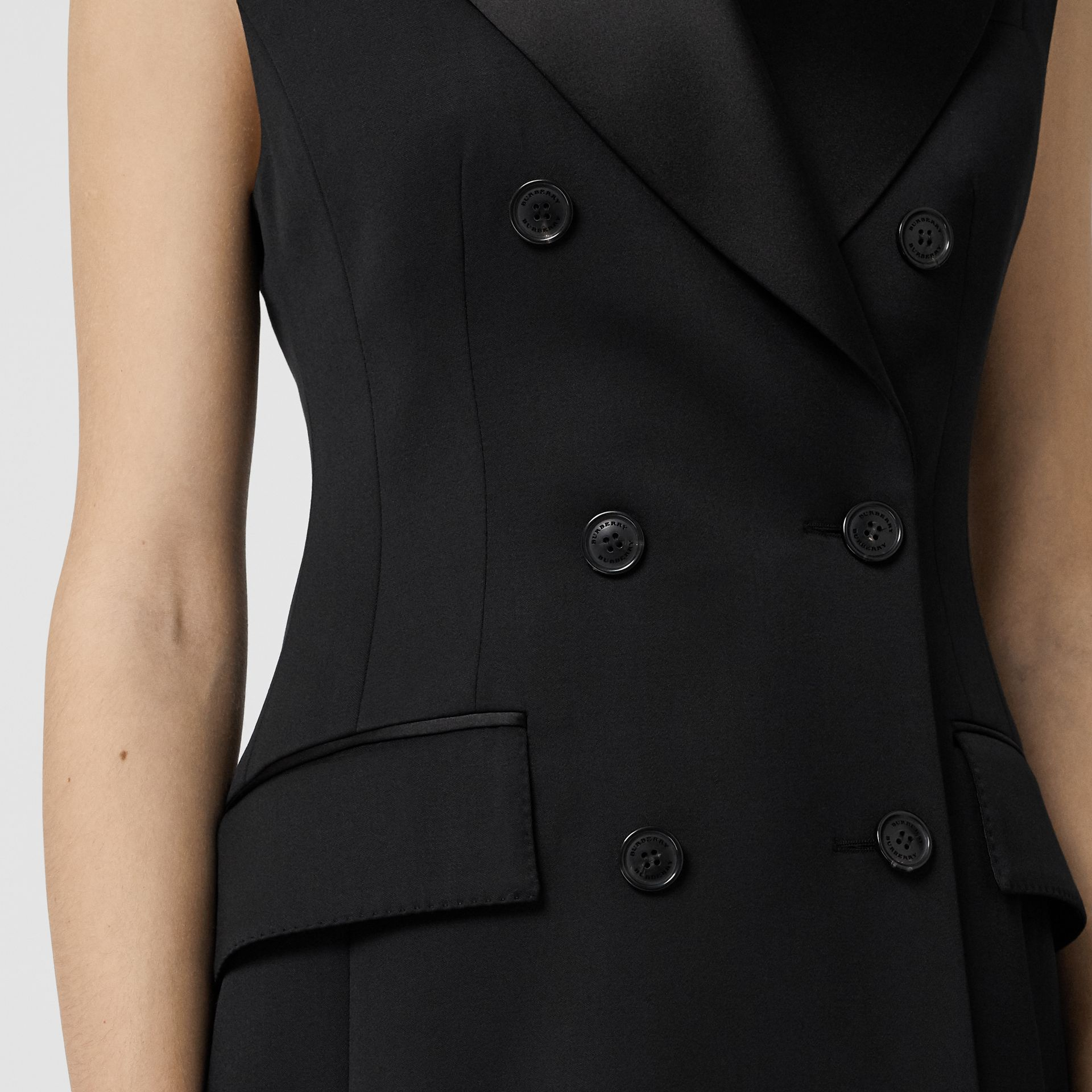Sleeveless Stretch Wool Double-breasted Jacket in Black - Women | Burberry Australia - gallery image 4