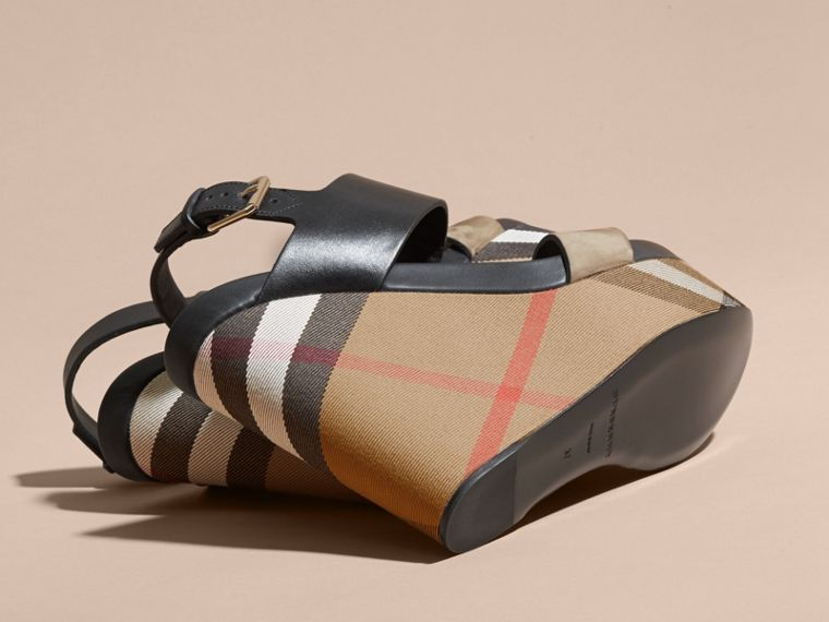 House Check Leather and Calf Suede Platform Wedges in Dark Heather Melange - Women | Burberry - cell image 4