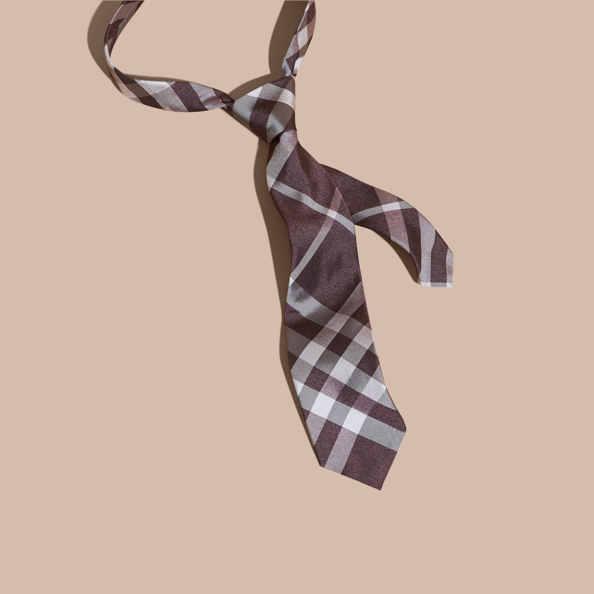 Heather Classic Cut Check Silk Tie Heather - gallery image 1