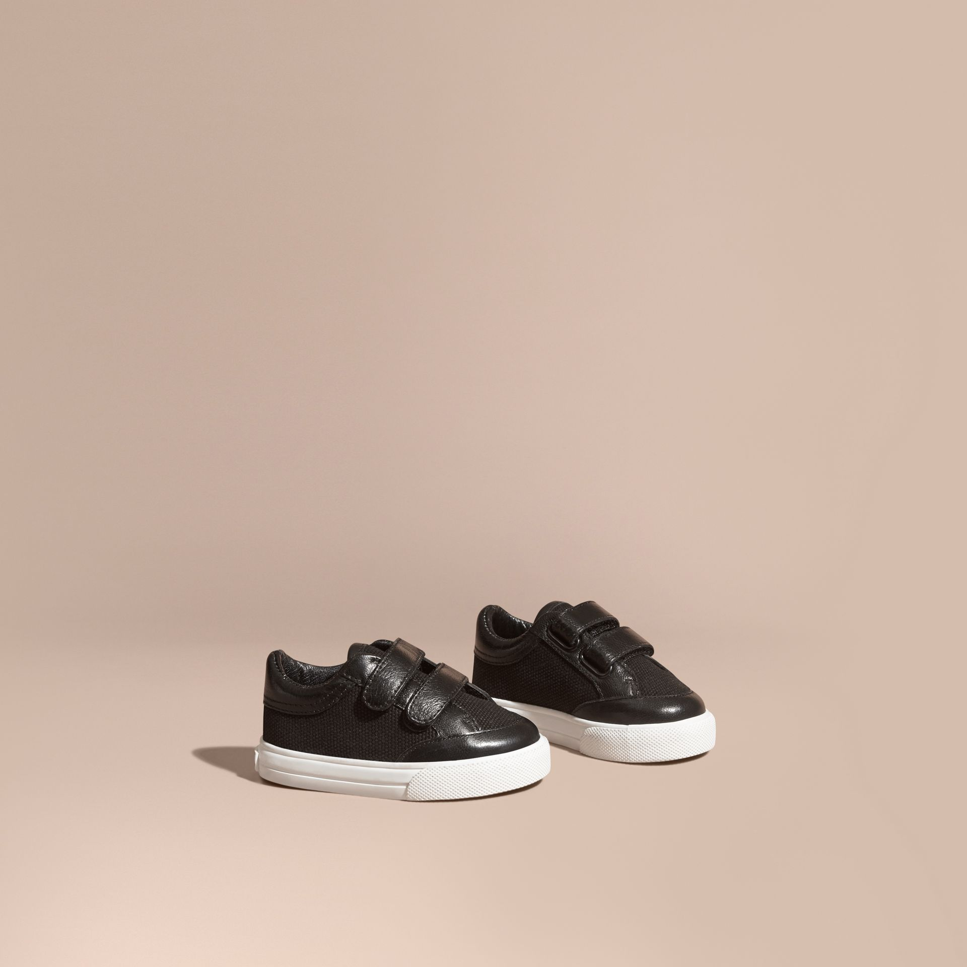 Leather and Canvas Trainers in Black | Burberry - gallery image 1