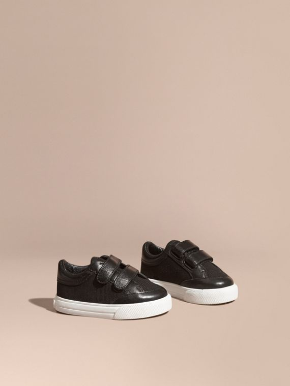 Leather and Canvas Trainers in Black
