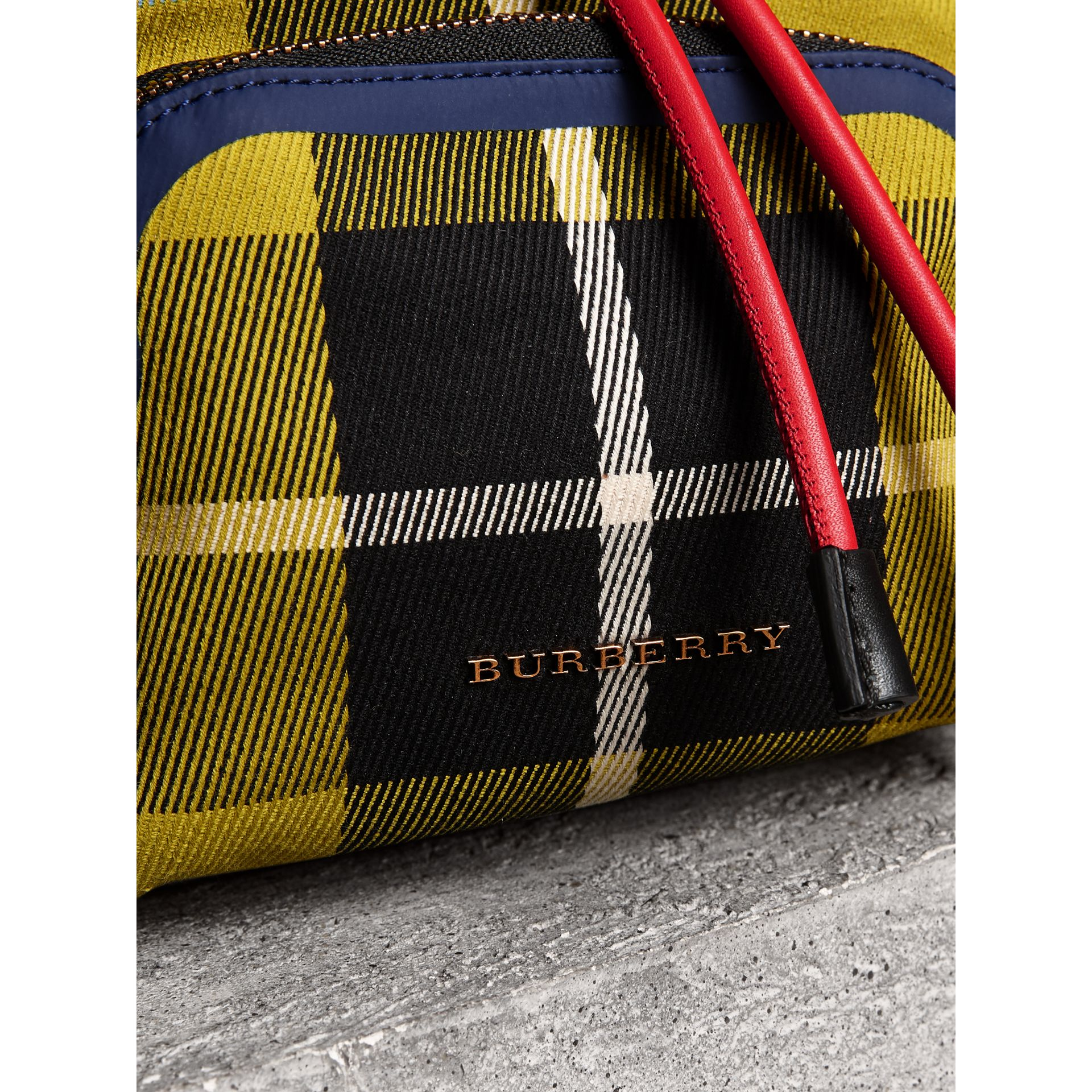 The Small Rucksack in Check Cotton and Leather in Flax Yellow - Women | Burberry - gallery image 1