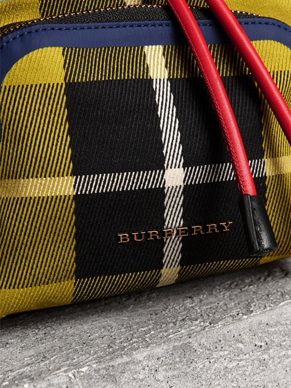 The Small Rucksack in Check Cotton and Leather in Flax Yellow - Women   Burberry - cell image 1