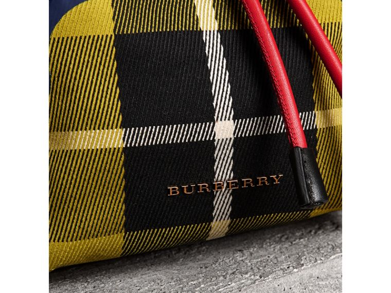 The Small Rucksack in Check Cotton and Leather in Flax Yellow - Women | Burberry - cell image 1