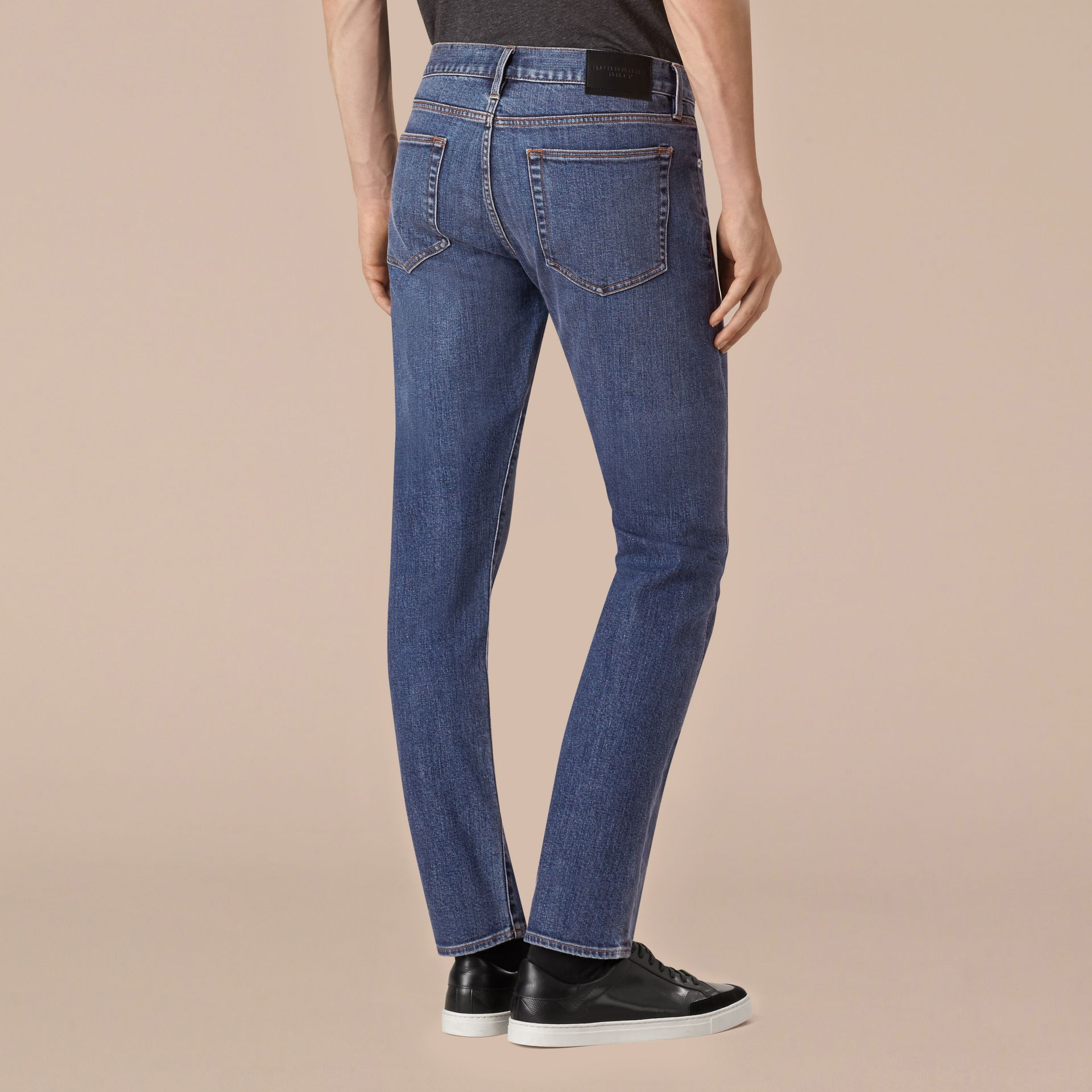 Mid indigo Straight Fit Stretch Japanese Denim Jeans - gallery image 3