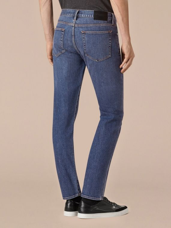 Indaco medio Jeans dal taglio dritto in denim stretch giapponese - cell image 2