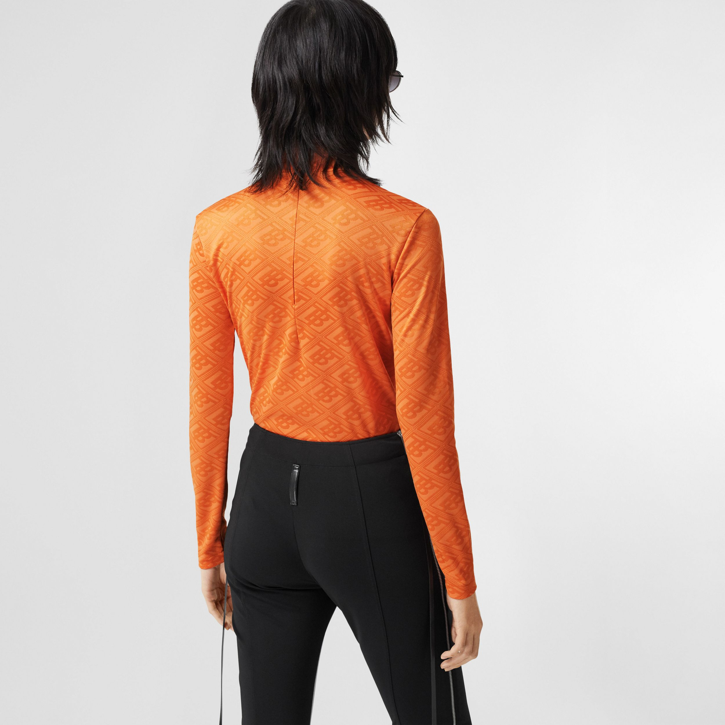 Logo Graphic Jersey Turtleneck Top in Bright Orange - Women | Burberry - 3