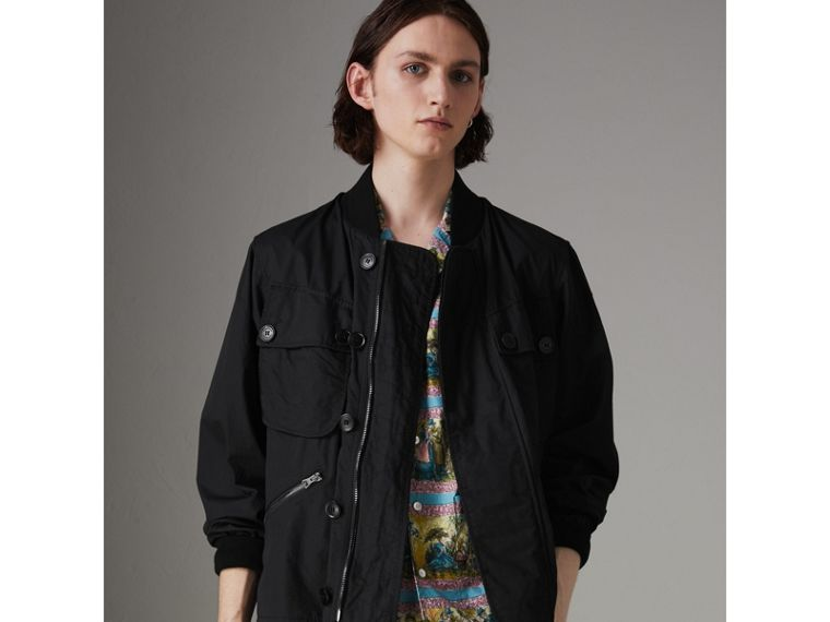 Pocket Detail Cotton Bomber Jacket in Black - Men | Burberry - cell image 4