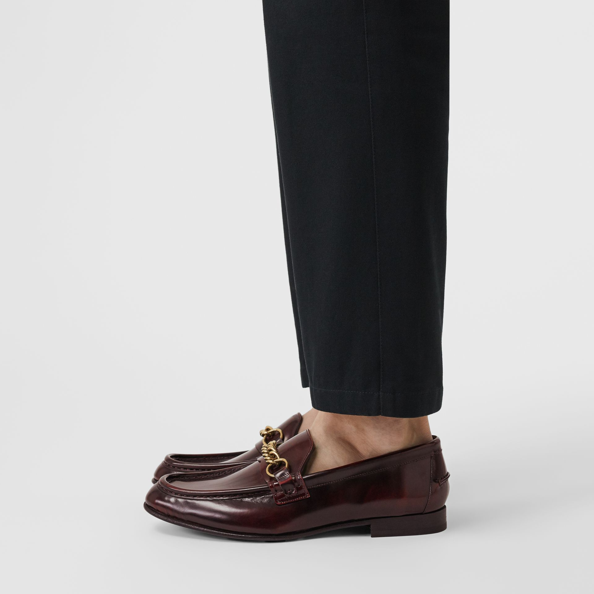The Leather Link Loafer in Bordeaux - Men | Burberry - gallery image 2