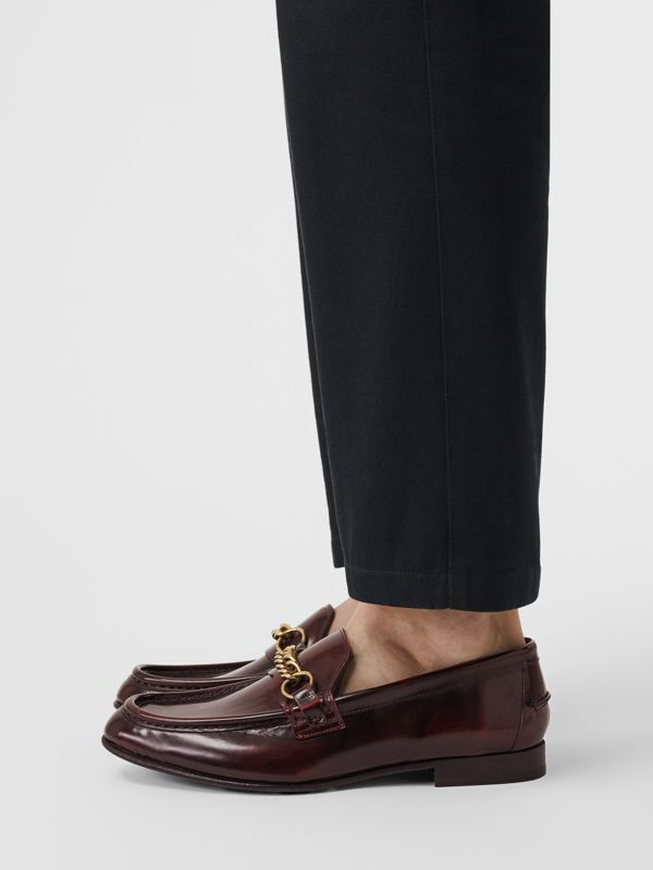 The Leather Link Loafer in Bordeaux - Men | Burberry - cell image 2