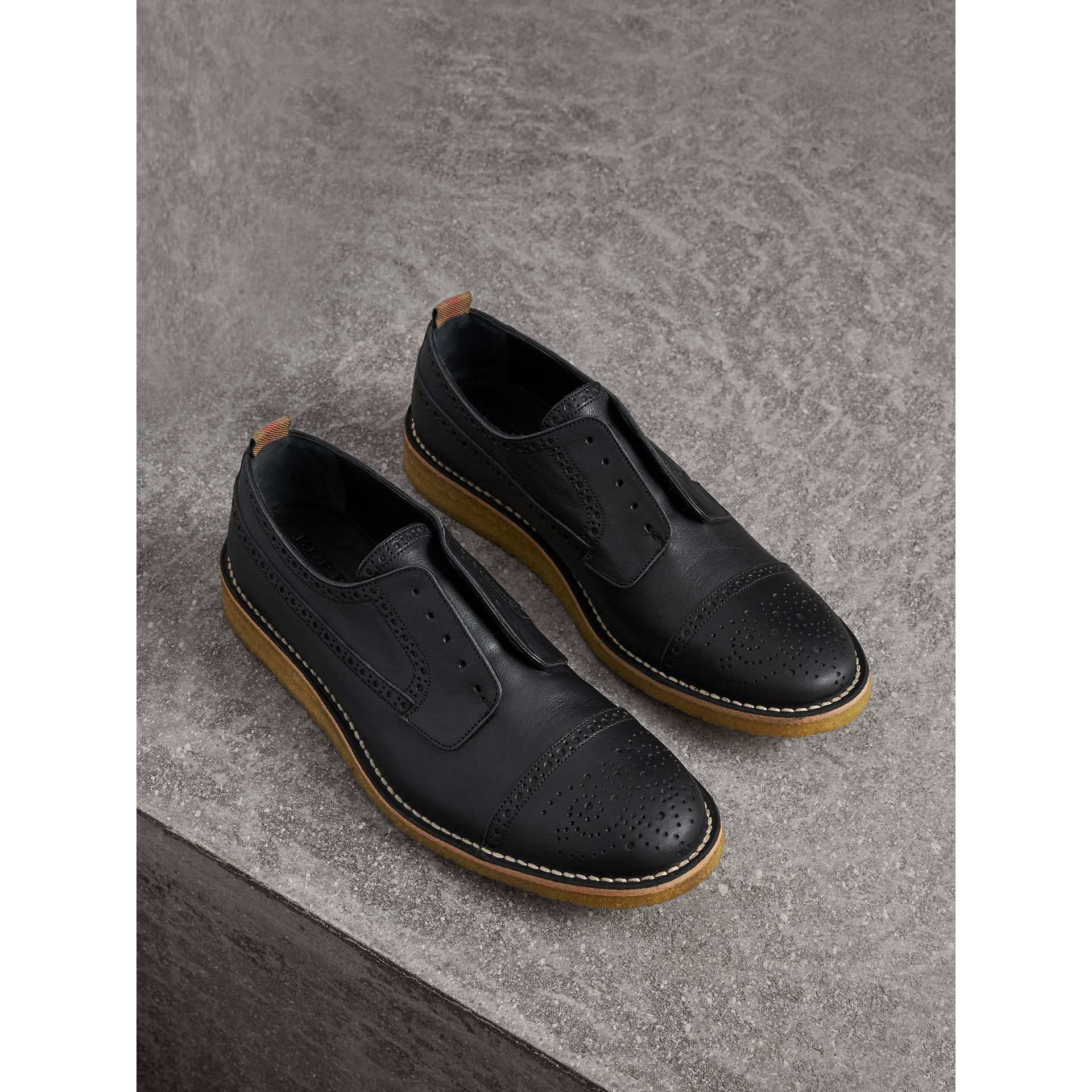 Raised Toe-cap Leather Brogues in Black - Men | Burberry - gallery image 1