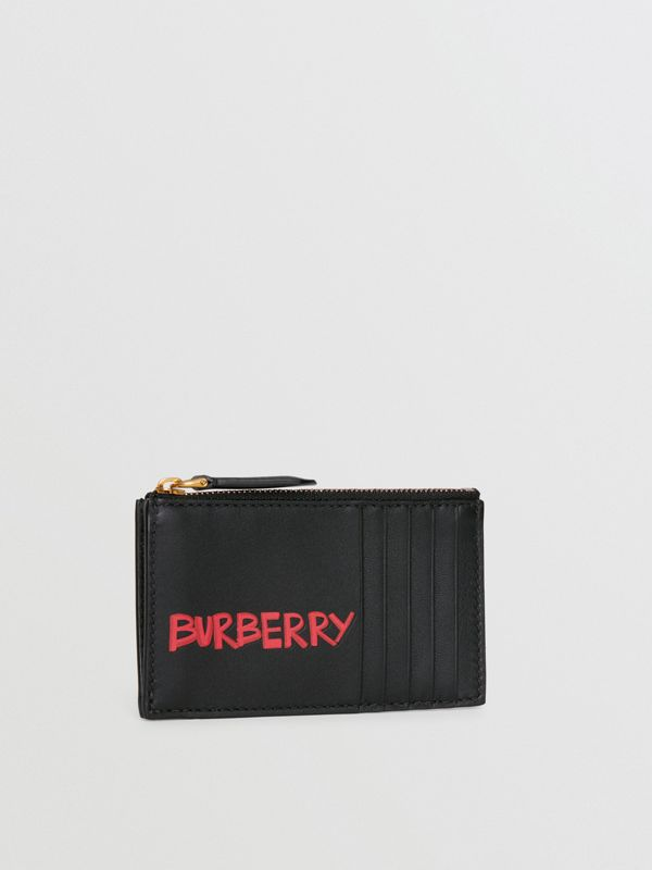 Graffiti Print Leather Zip Card Case in Black | Burberry - cell image 3