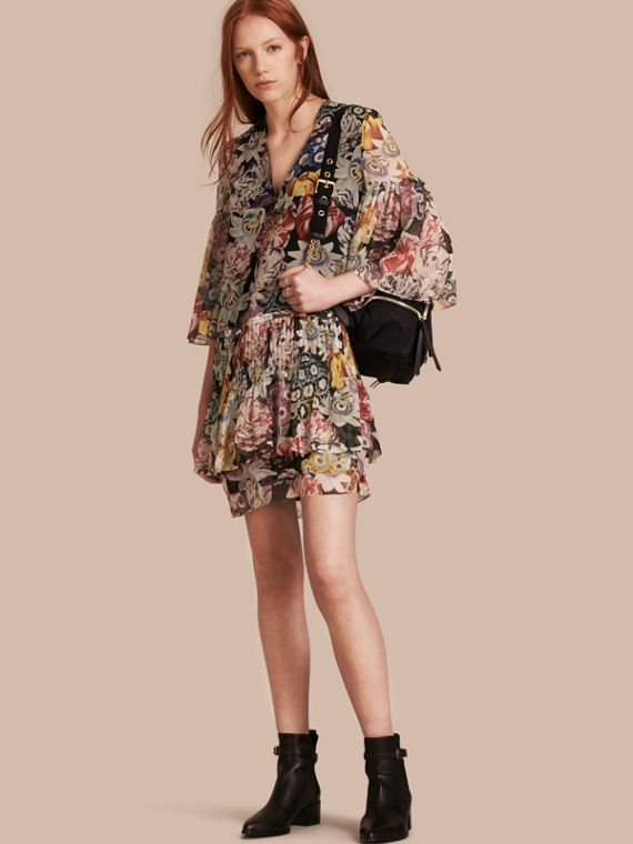 Floral Silk Dress with Gathered Sleeves